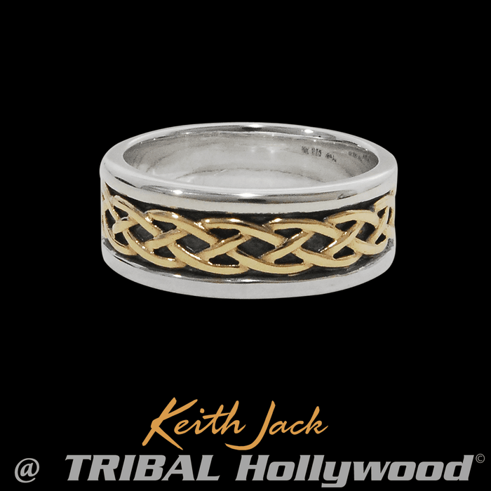 CELTIC GOLD KNOT Mens Ring by Keith Jack in Silver and Gold