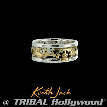 GOLD THISTLE RING Silver and Gold Keith Jack Mens Ring Band