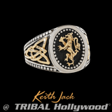 GOLD LION RAMPANT Sterling Silver and Gold Mens Ring by Keith Jack