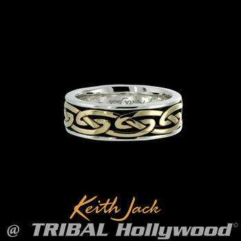 LARO GOLD ETERNITY RING Celtic Knot Keith Jack Mens Ring Band