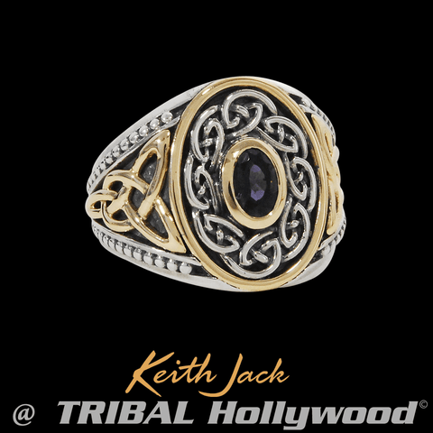 IOLITE RING Gold and Silver Celtic Knot Mens Ring by Keith Jack