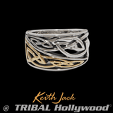 DUAL KNOT RING Gold and Silver Celtic Knot Mens Ring by Keith Jack