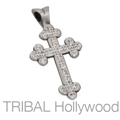 BLANIK Faith Guardian Mens Cross Pendant w Swarovski Crystals by Bico