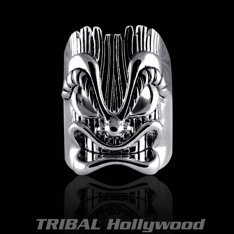 Ecks TIKI RING Sterling Silver Tribal Mens Ring