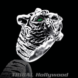 THE UNTAMED Silver Tiger Ring for Men with Green Emerald by Ecks