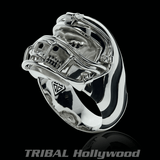 CHAMPION Football Helmet Skull Ring for Men in Silver from Ecks