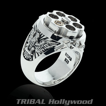 LAST SHOT Revolver Eagle Ring for Men in Sterling Silver from Ecks
