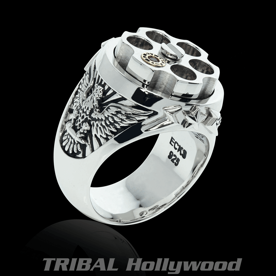 LAST SHOT Revolver Eagle Ring for Men in Silver and Gold from Ecks