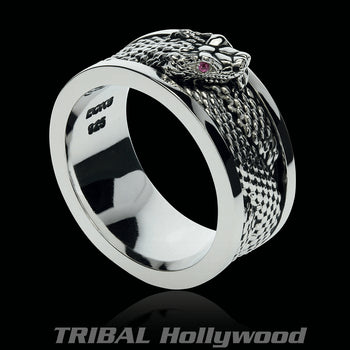 SNAKE CHARMER Sterling Silver Mens Ring Band from Ecks