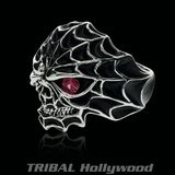 SPIDER SKULL Ring for Men in Sterling Silver from Ecks