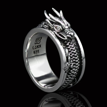 Ecks INFINITY DRAGON Ring for Men in Sterling Silver