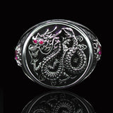 Ecks CHINESE DRAGON Sterling Silver Ring for Men with Red Rubies