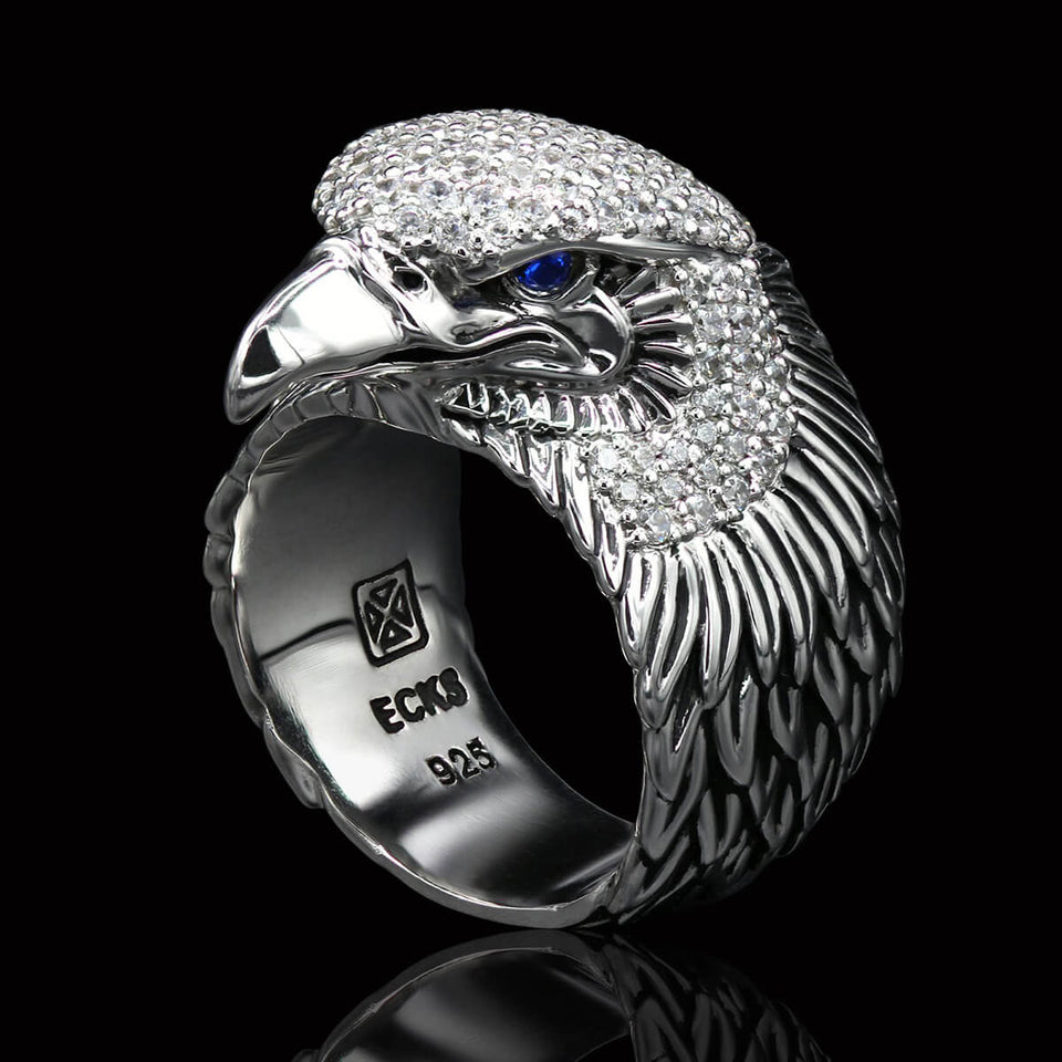 FREEDOM Blue Eyed American Bald Eagle Ring for Men in Silver by Ecks