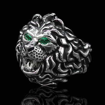 KING LION Ring for Men in Silver with Green Topaz Eyes by Ecks