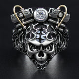 Ecks FIRE RACER Skull Ring for Men with Motorcycle Engine & Pearl Brain