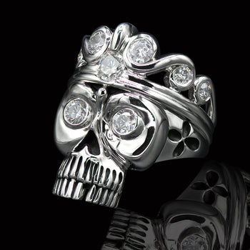 CRYSTAL CROWNED SKULL Open 3D Mens CZ Stone Silver Skull Ring by Ecks