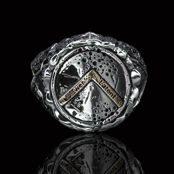 Ecks SPARTAN WARRIOR SHIELD Mens Ring in Hammered Silver and 14k Gold