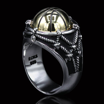 LAST SECOND Gold Plated Basketball Mens Ring in Silver by Ecks