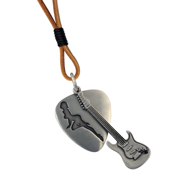 PRODIGAL ROCKSTAR Guitar and Pick Necklace with Leather Cord by BICO