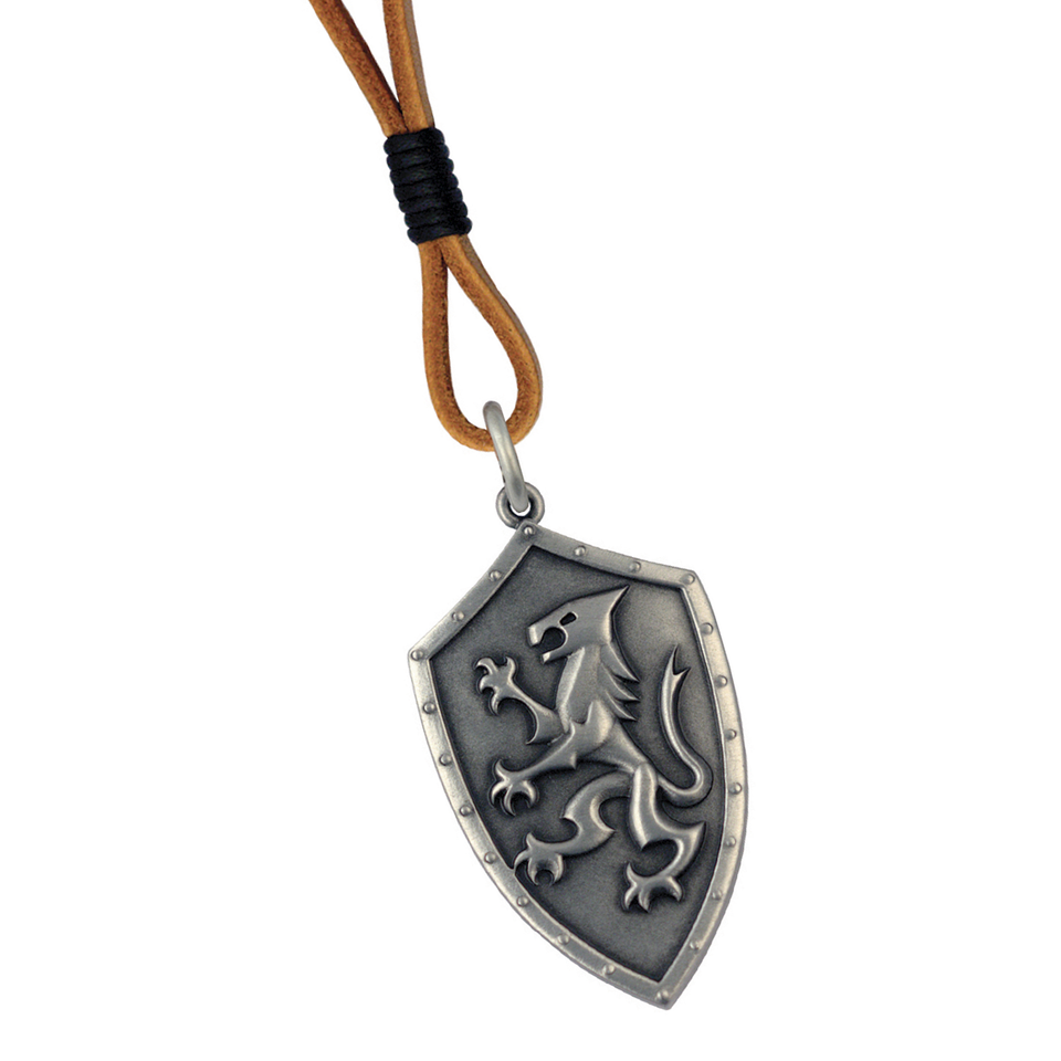 LIONS OATH Mens Shield Pendant on Brown Leather Cord by BICO Australia