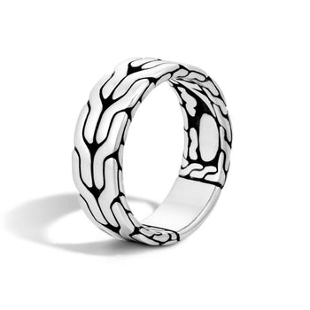 John Hardy Mens Silver Band Ring 8mm - Classic Chain Collection Design