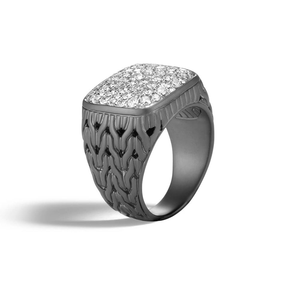John Hardy Mens Pave Diamond Black Rhodium Signet Ring with Classic Chain Design
