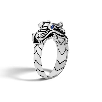 John Hardy Mens Legends Naga Dragon Sterling Silver Ring with Blue Sapphires