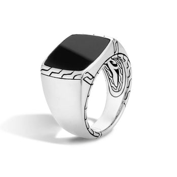 John Hardy Mens Black Jade Silver Signet Ring with Classic Chain Design