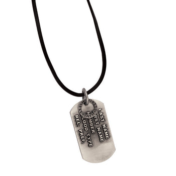 MR NO NAME Mens Dogtag Necklace with Black Leather Cord by BICO