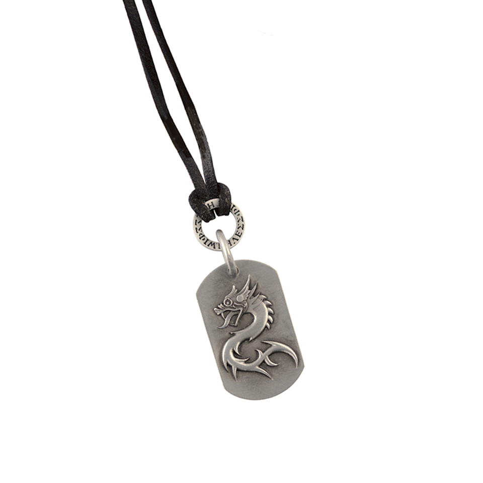 THE ORDER OF HAN Dragon Dogtag with Black Leather Cord by BICO