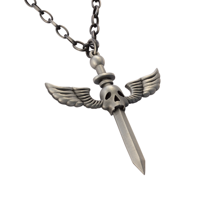 FAUSTS DILEMMA Winged Skull Sword Mens Pendant Chain by BICO Australia