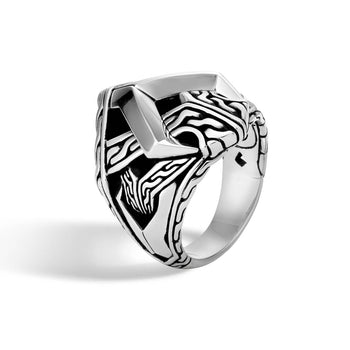 John Hardy Mens Modern Asli Link Design Silver Signet Ring - Classic Chain Collection