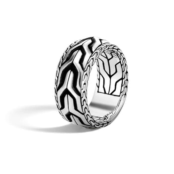 John Hardy Mens Asli Link Design Silver Band Ring 10mm - Classic Chain Collection