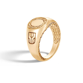 John Hardy Mens 18k Gold Pinky Ring with Classic Chain Design