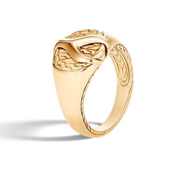 John Hardy Mens 18k Gold Asli Link Pinky Ring with Classic Chain Design