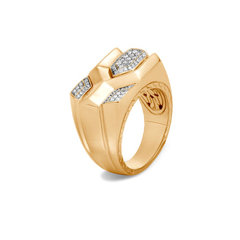 John Hardy Mens 18k Gold Asli Link Classic Chain Ring with Pave Diamonds