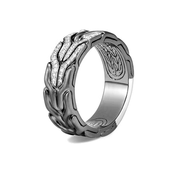 John Hardy Mens Pave Diamond Black Rhodium Band Ring 8mm - Classic Chain Collection