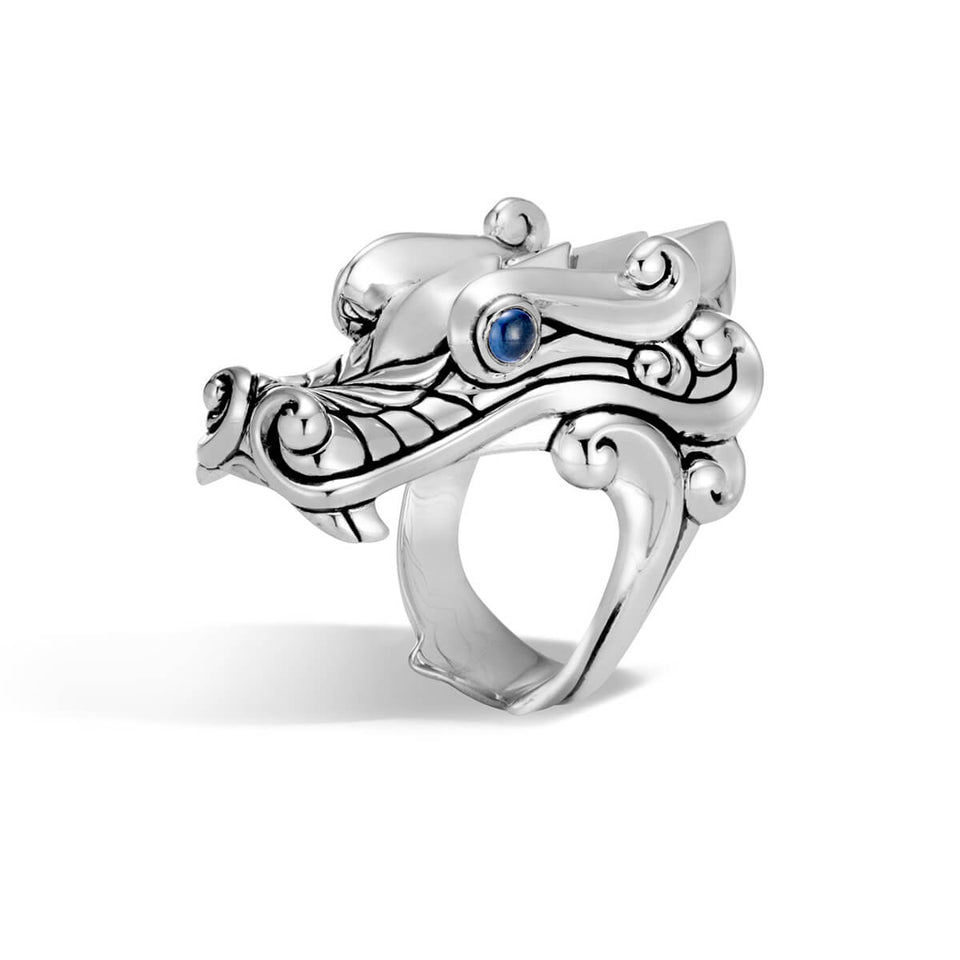 John Hardy Mens Legends Naga Dragon Ring in Sterling Silver with Blue Sapphires