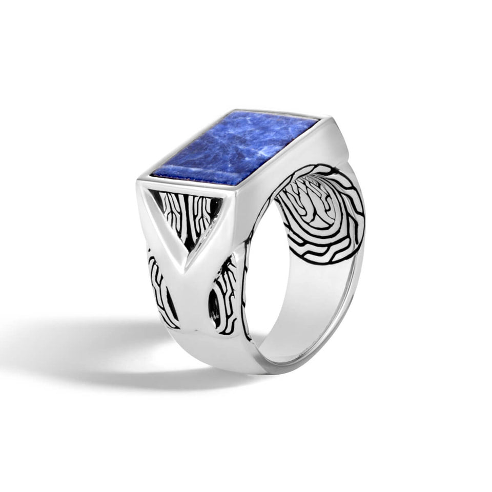 John Hardy Mens Blue Sodalite Silver Signet Ring with Asli Classic Link Motif