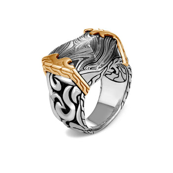 John Hardy Mens Keris Dagger Damascus Steel Signet Ring with 18k Gold and Sterling Silver