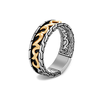 John Hardy Mens 18k Gold Keris Dagger 7mm Silver Band Ring - Classic Chain Collection
