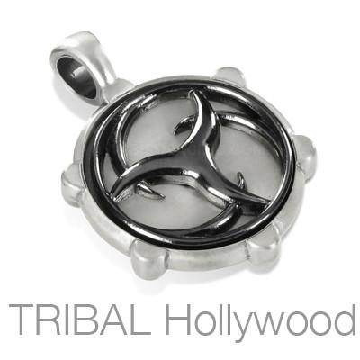 VERITAS WHEEL Mens Tribal Spinner Necklace Pendant in Silver and Black Gunmetal by BICO Australia | Tribal Hollywood