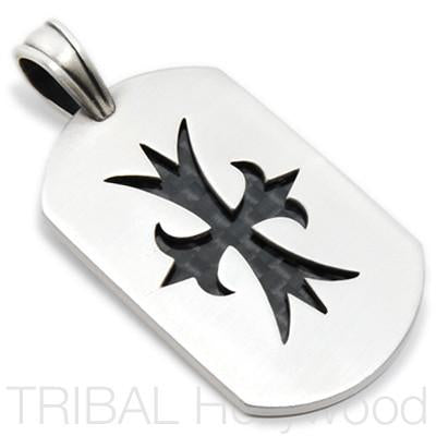 COURAGEOUS CROSS CARBON FIBER DOG TAG Pendant in Silver | Tribal Hollywood