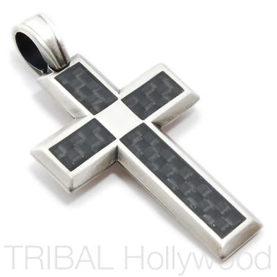 TECH CROSS in Carbon Fiber & Silver | Tribal Hollywood