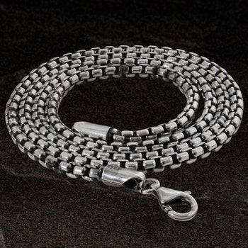 DARK VENETIAN CHAIN Medium Width Silver Box Link Chain by Keith Jack