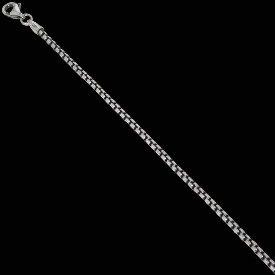 DARK VENETIAN CHAIN Extra Thin Silver Box Link Chain by Keith Jack