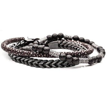 Bead and Leather Bracelet Stack with Black Steel