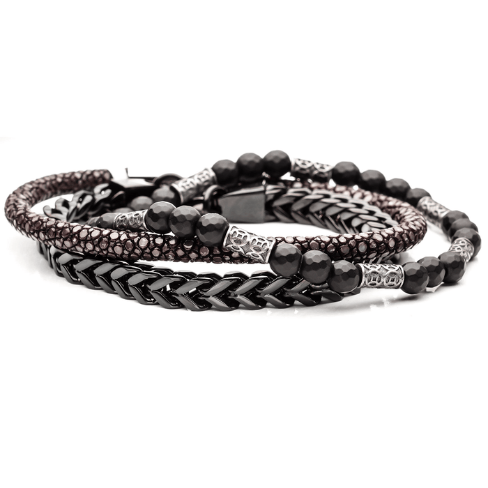 ARCHEOLOGIST Mens Bracelet Stack with Black Steel and Stingray Leather