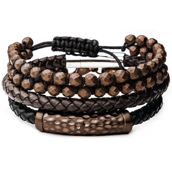 MOCHA Brown Leather and Steel Mens Bracelet Stack with Hematite Beads