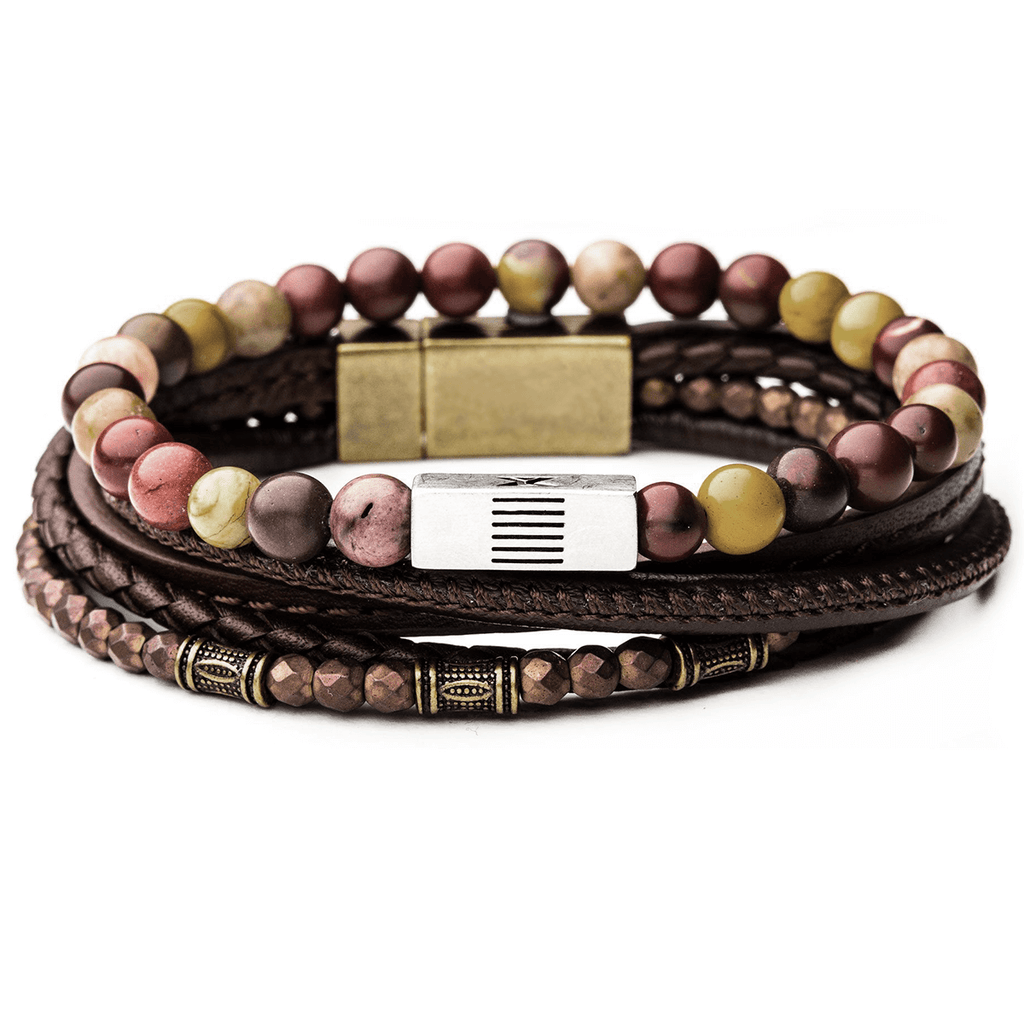 Candyshop Multicolor Beads Mens Bracelet Stack With Brown
